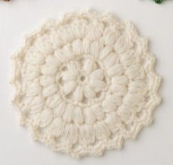画像1: 手編みのコースター ウール オフホワイト 5個セット