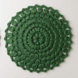 画像1: 手編みのマット ウール ヴェール