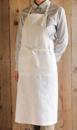 画像1: リネン フルエプロン ホワイト